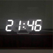 3D LED Wall Clock Modern Digital Table Desktop Alarm Nightlight Saat For Home Living Room Office 24 or 12 Hour