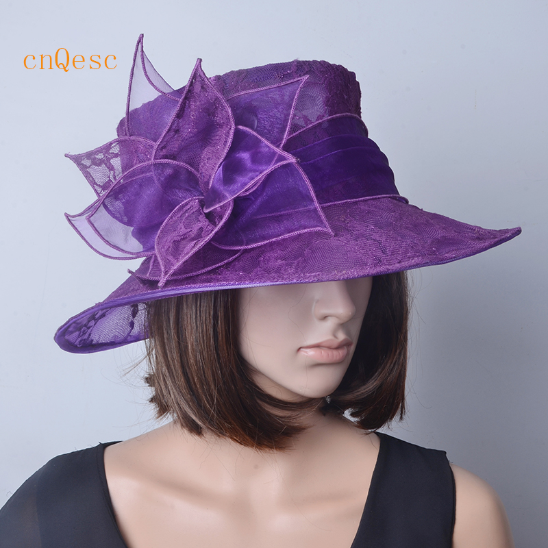Purple Ivory Black Wedding Hat Lace Organza Hat For