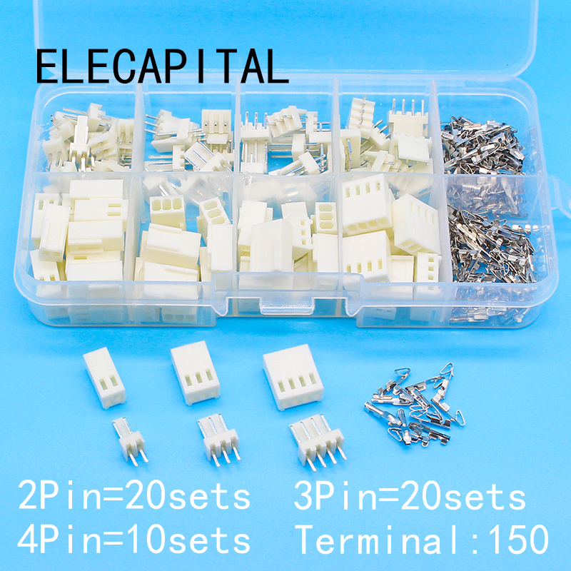 KF2510 Kits 50 sets Kit in box 2p 3p 4 pin 2.54mm Pitch Terminal / Housing / Pin Header  ...