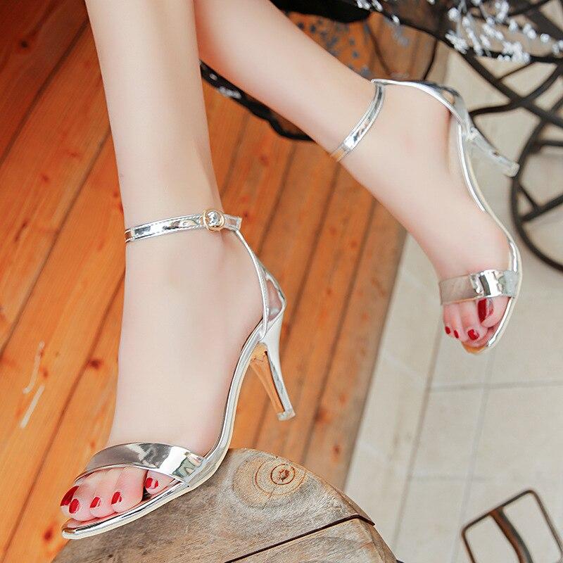 Women Pumps Sexy High Heels Comfort Women Shoes Summer Women Sandals Kitten Heels Buckle Women Heels Silver Wedding Shoes Female