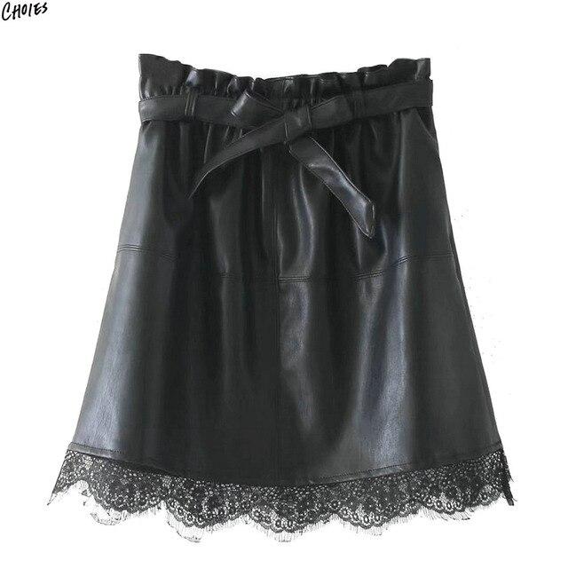 Noir PU En Cuir Patchworked Dentelle Hem Mini Jupe Femmes Arc Ceinture  Élastique Taille Haute High 2211317f96f