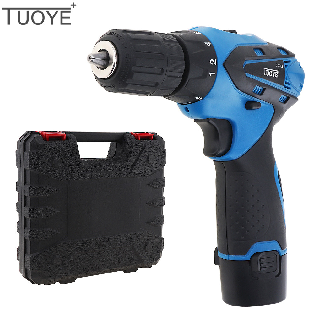 цена на 12V Cordless Electric Drill Screwdriver Rechargeable Lithium Battery Two-speed Rotation Adjustment Power Tools with Tool Box