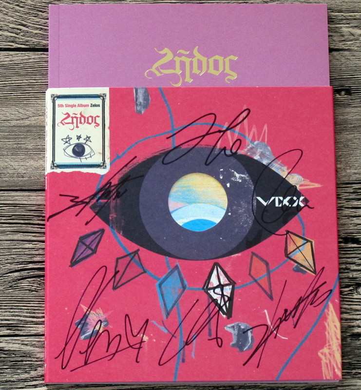 Vixx autographié signé avec stylo 2016 5ème album Zelos CD + photobook + pas affiche 05.2016