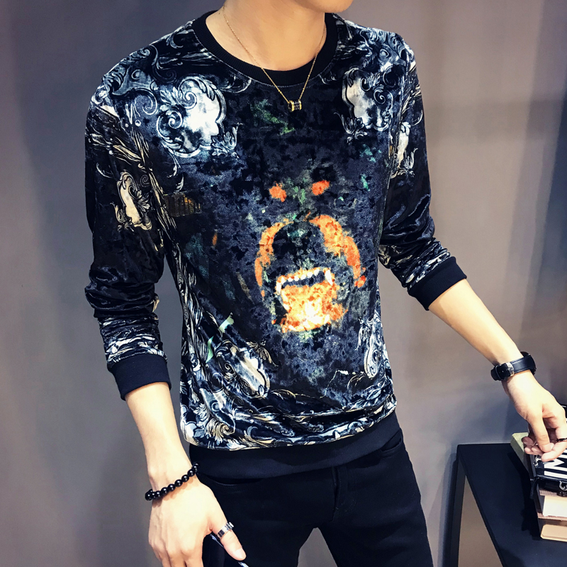 Chinese Floral Mens Retro Long Sleeve Slim Gold Stamping Print Velvet T Shirt