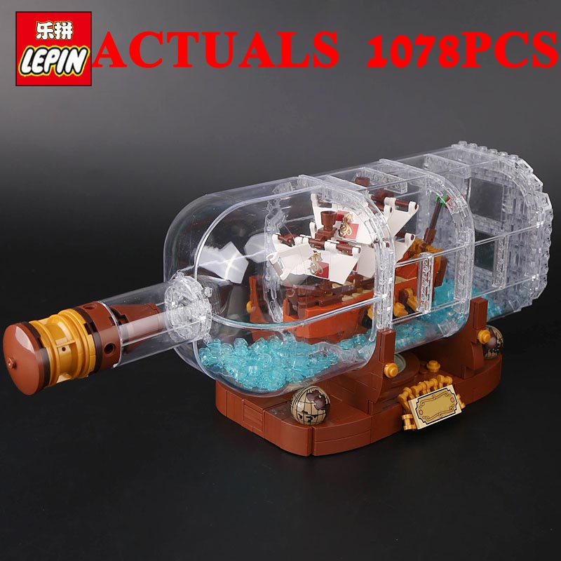 LEPIN Movie Series 16051 The Ship in a Bottle Set Building Blocks Bricks Funny Toys Kid Birthday Gifts 1078PCS IDEAS 21313 model 8 in 1 military ship building blocks toys for boys