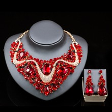 Lan palace nigerian wedding african beads gold plated Rhinestone necklace and earrings for wedding six colors  free shipping