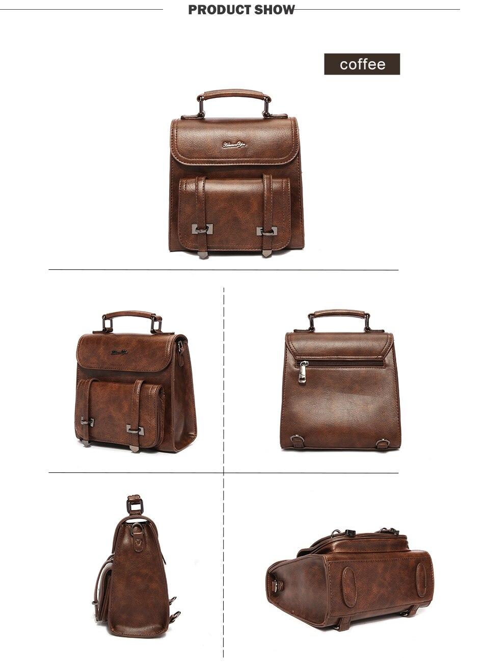 Women\'S Vintage Leather Backpack Multi Function Small Shoulder Bag For Woman Waterproof Backpack Back Bag Women Rucksack