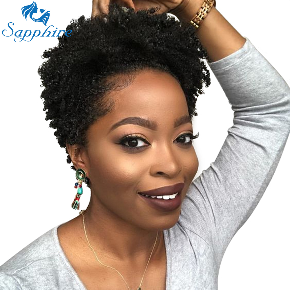 Sapphire Short Bob Wigs For Black Women Remy Afro Curly Human Hair Wig 4inch 100% Human Hair ...