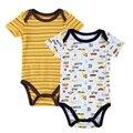 2 peças / lote babador do bebé da menina roupas de marca Moda Bebê Ropa Bebe Macacão de algodão corpo Bebe Boys & Girls Clothes
