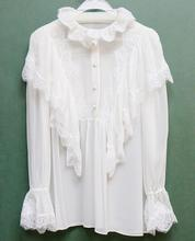 2017 Luxury Runway Woman white 100% silk Frill Collar Shirt ruffled lace detail blouse Front Buttoned up Long Sleeved Flare cuff