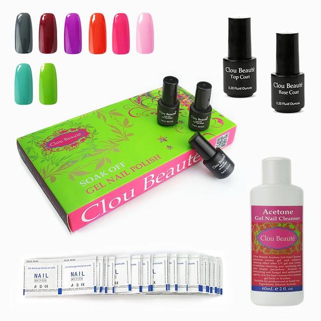 Clou Beaute 8 Colors SONP-021 Remover Wraps Cleanser Plus Top Base Coat Gel Nails UV Nail Gel Color Soak Off Gel Polish