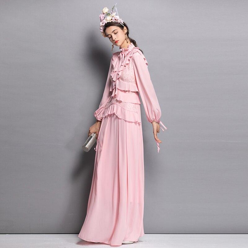 Manches pink À Rose Sexy Patchwork Robe De longueur Longue Parti Longues Maxi Mariage Élégant Dentelle Couleur Noir Femmes Ruches Black 2018 Plancher Xxl T6B8O