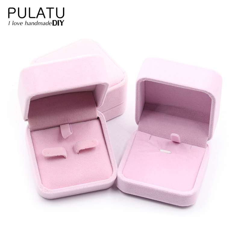 Jewelry Display Packaging Gift Bo Earring Or Necklace Holder Square Velvet Materials Wedding Birthday Jewellery Box Pj0191 In