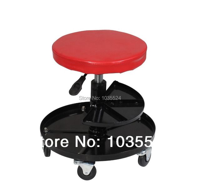 Mechanics Adjustable Pneumatic Work Shop Stool Roller Seat Chair With Wheels
