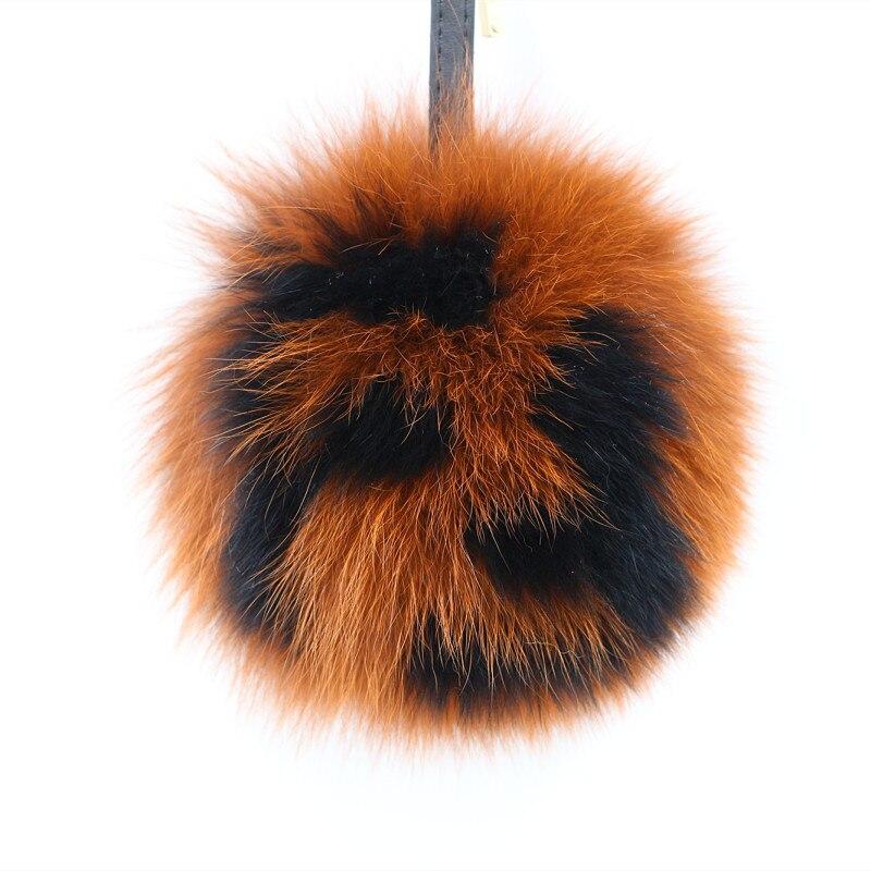 Marque FF lettre boule porte-clés de la fourrure véritable fourrure de renard porte-clés balle 15 cm moelleux solide ronde de fourrure pompon sac à main bijou de sac porte-clés