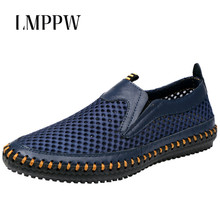 Summer Hollowed Out Casual Men's Mesh Shoes Comfortable Soft Sole Men's Casual Sandals Man Slip on Flats Breathable Sandals 2A