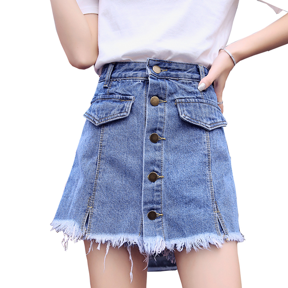Skirt   Shorts   Women Denim   Short   2019 Fashion Summer Wear Skirts High Waist   Short   Jeans Female Button S-XXL Trousers Jean