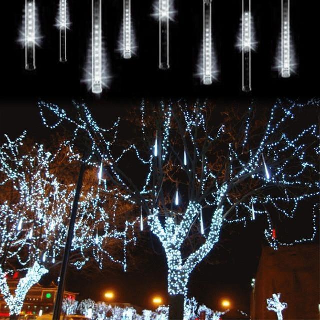 100 240v eu plug 20cm meteor shower rain tubes led christmas lights outdoor indoor garden - Led Christmas
