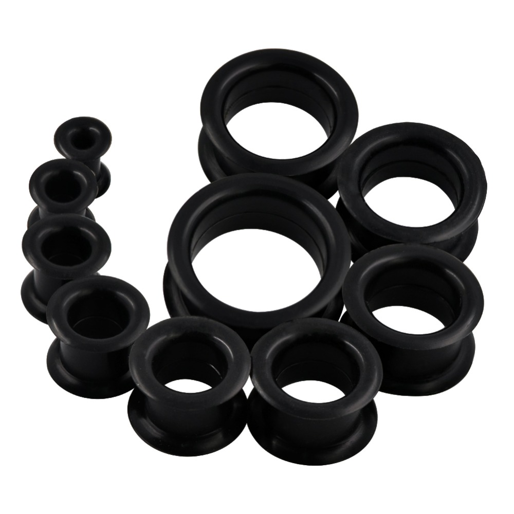 "Chair Tunnels Mince Silicone 2G-1//2/"" Flexible Oreille Peau 3 Paires"