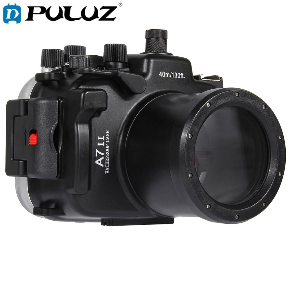 купить PULUZ 40m Underwater Depth Diving Case Waterproof Camera Housing for Sony A7 II / A7R II / A7S II Lightweight Protective Cover по цене 10750.4 рублей