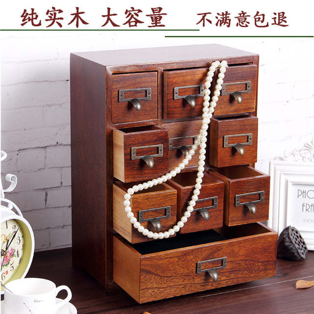 Jewelry Box Wood Wooden Box Wooden Desktop Drawer Type Wenwan Cosmetic  Storage Boxes High Quality Organization