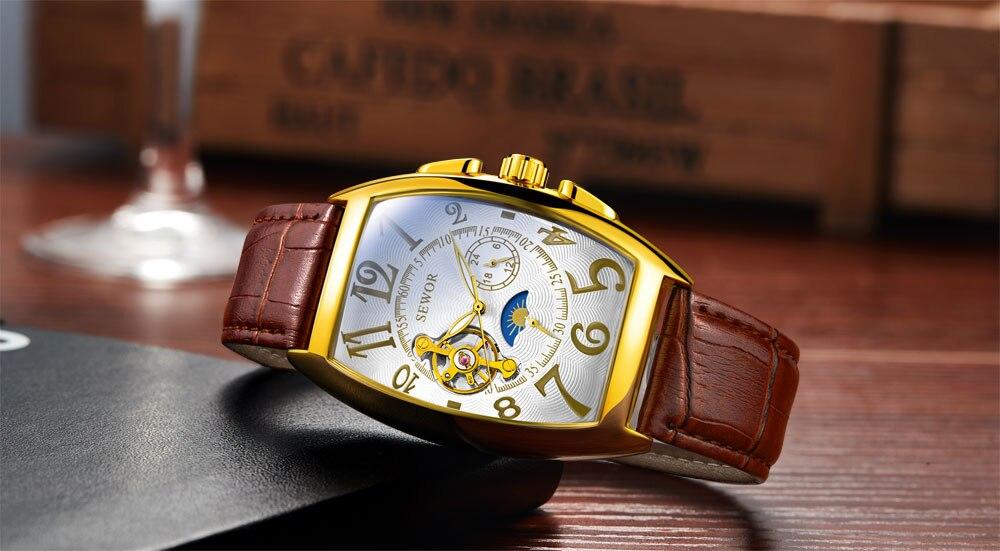 HTB1724FXyHrK1Rjy0Flq6AsaFXag SEWOR New Black Gold Tonneau Tourbillon Automatic Mechanical Watch Men Genuine Leather Strap Men Clock Male Men Wristwatches