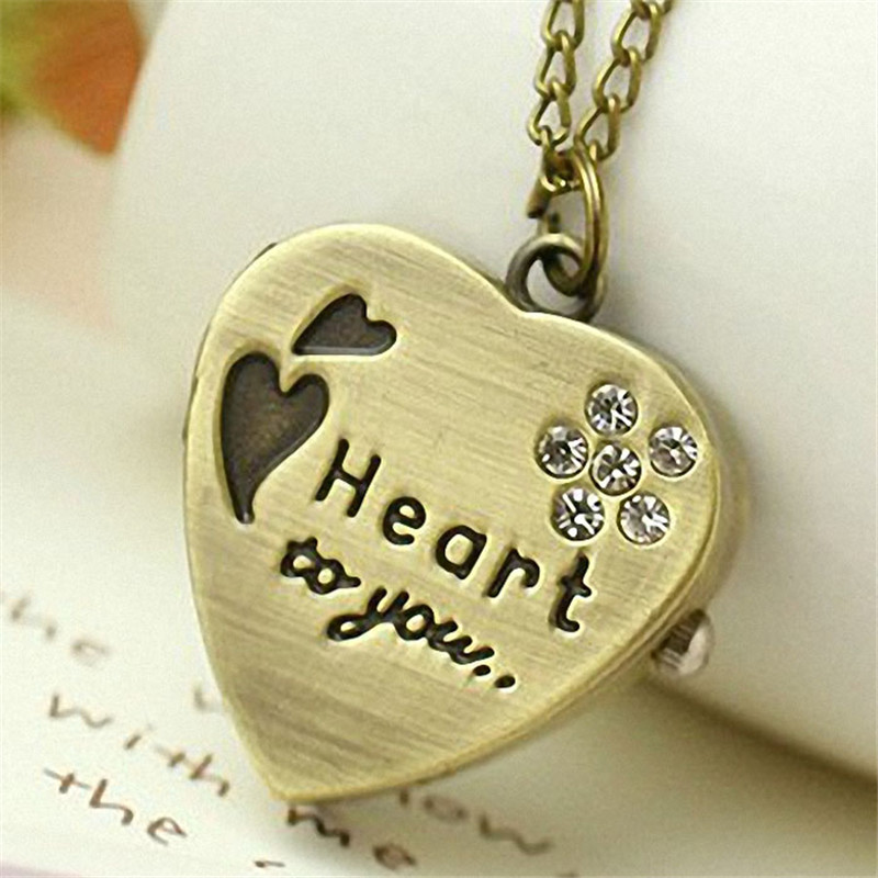 Top Brand Luxury fashion 2017 New Love Heart to you Bronze Necklace Chain Pocket Watch Necklace With Diamand Chain Gift Clock A1 unique smooth case pocket watch mechanical automatic watches with pendant chain necklace men women gift relogio de bolso