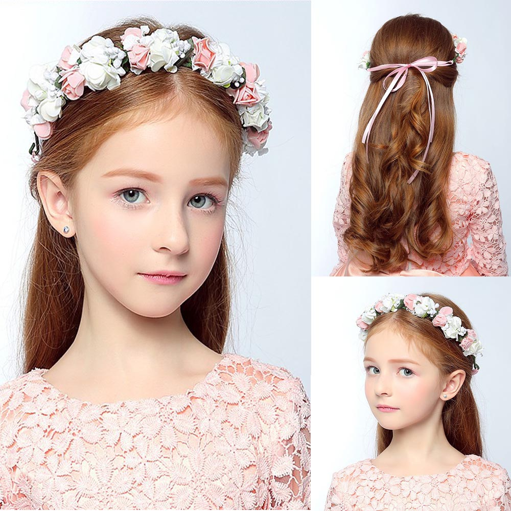 1 PCS Bohemia Flower Floral Hairband Children Girls Crown Headband Party Wedding Headwear Hair Band Accessories handmade big fabric rose flower headband hair garland wedding headpiece floral crown 12 colors