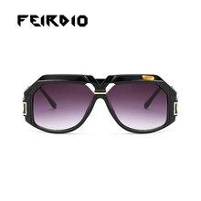 Feirdio Vintage Trend Newest Female Men Sun Glasses Oversized Metal Plastic Frame Frame Eyeglasses Oculos font