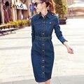 Gtime mulheres dress vestidos manga comprida magro denim longo dress com cinto oversize do vintage sexy bodycon dress # zkqa100