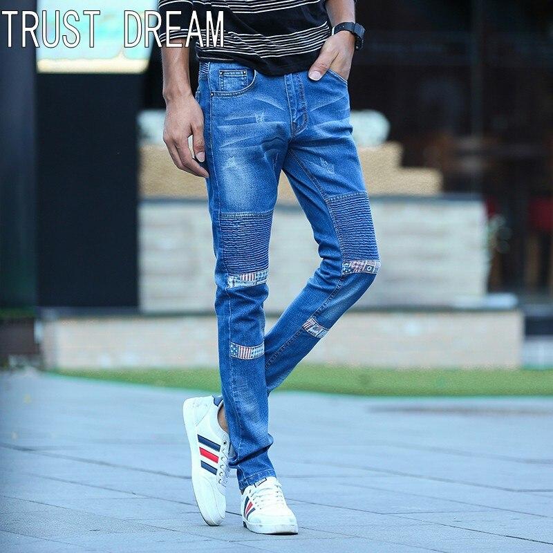 TRUST DREAM Europeans Young Men Stretch Slim Biker Jeans Blue Casual Cargo Patchwork Man Street Jeans