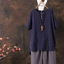 ZANZEA Plus Size Women Linen Blouse Ladies Solid Buttons Top Irregular Hem Shirt Chemise Femme Casual Loose Blusas 5XL