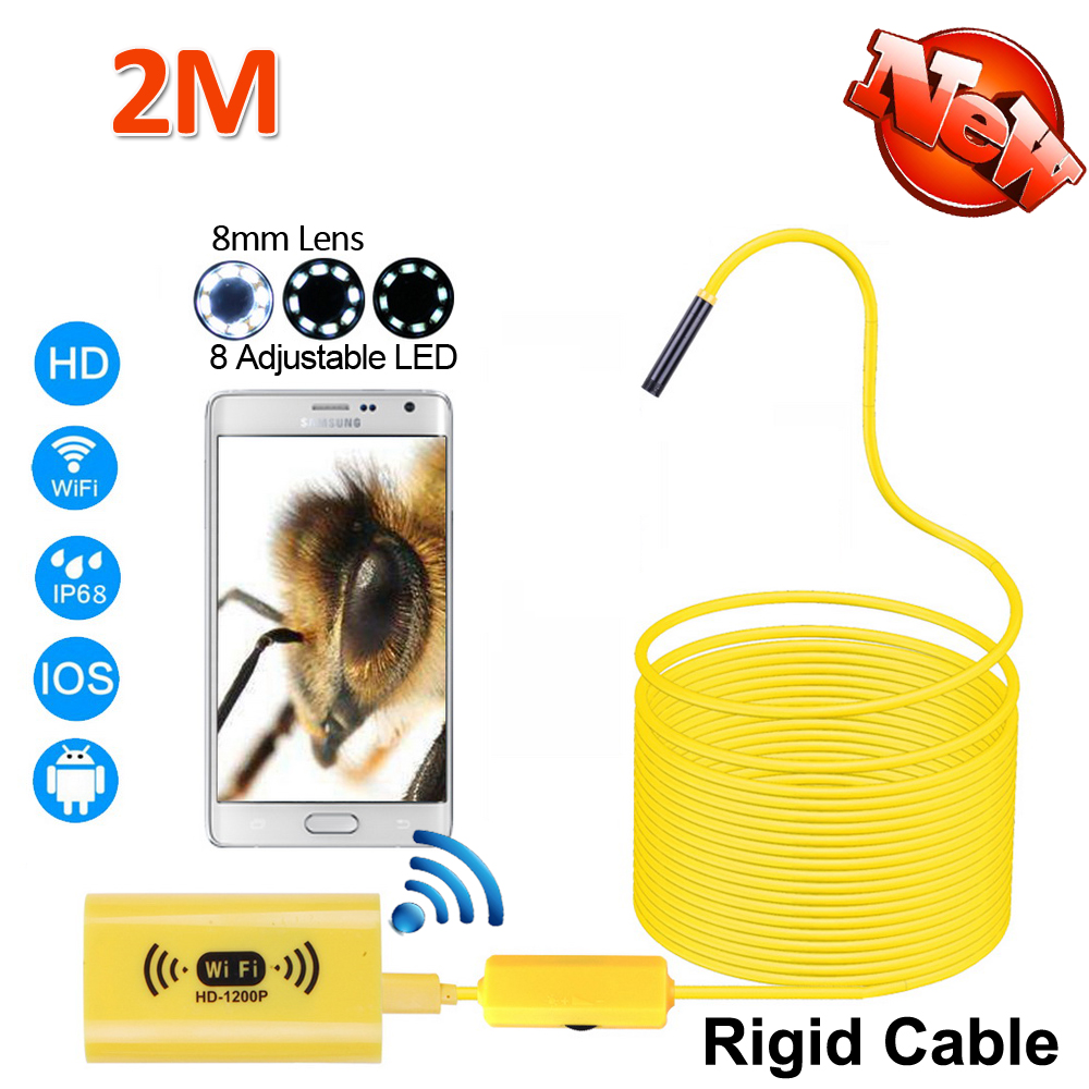 8mm OD 1200P 2MP WIFI USB Endoscope Camera Android iPhone 2M Snake Rigid Cable USB Wirless Waterproof Inspection Borescope 8LED 2017 new 8led 7m hard flexible snake usb wifi android ios iphone endoscope camera iphone borecope pipe inspection hd720p camera