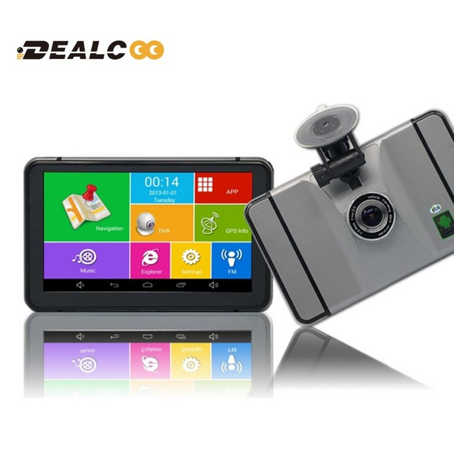 Dealcoo Best Android 4.4 Car GPS Navigation with DVR 8GB WIFI FM 7 inch Capacitive screen Navigators automobile Map Free Update