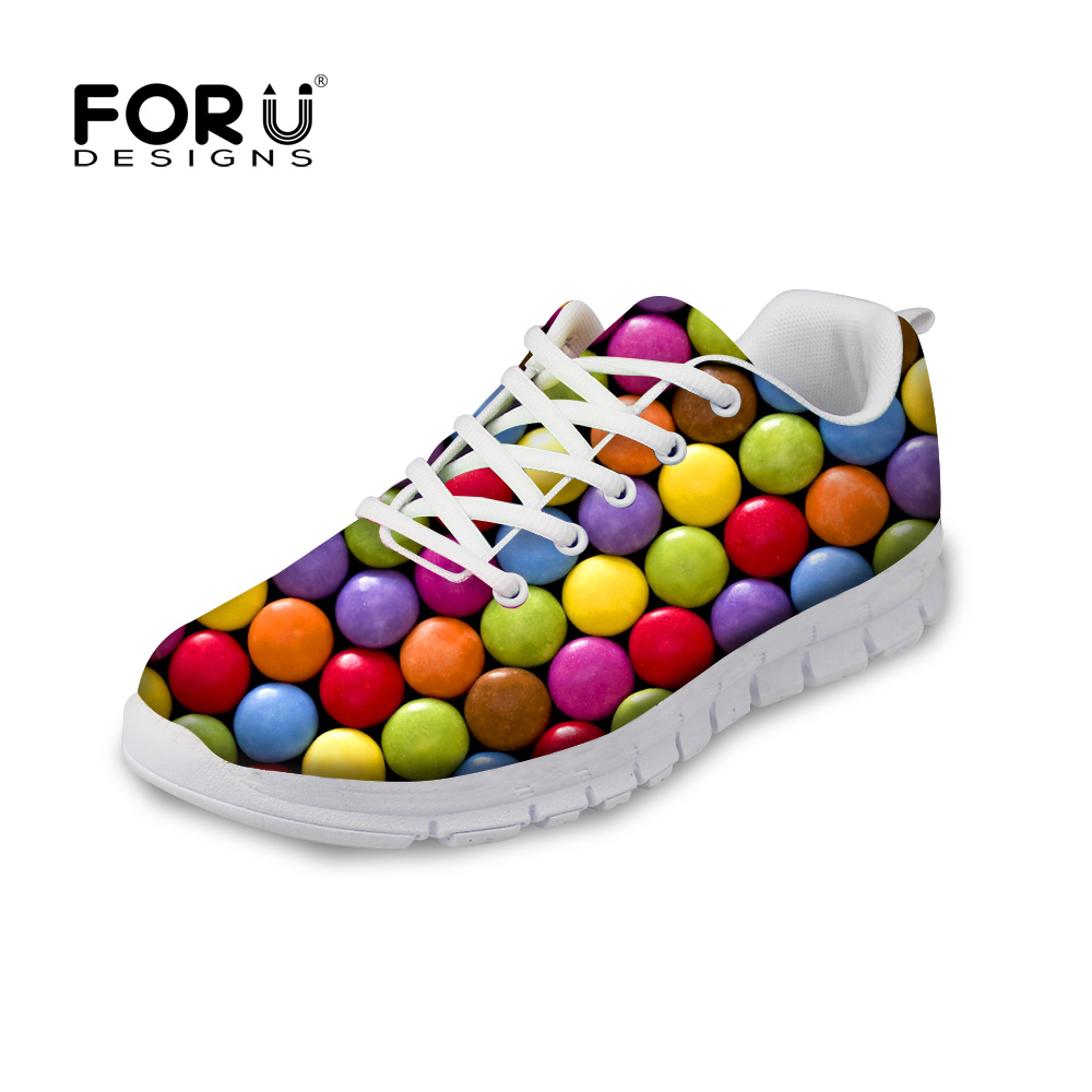 FORUDESIGNS Casual Shoes Women 3D Candy Color Printed Autumn Flats Shoes Breathable Comfortable Flat Shoes for Ladies Zapatos forudesigns women casual sneaker cartoon cute nurse printed flats fashion women s summer comfortable breathable girls flat shoes