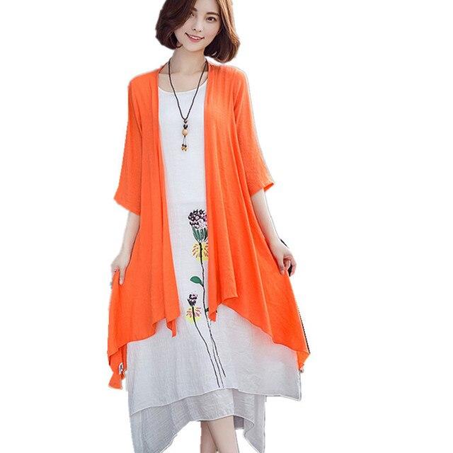 492126067749 Clobee 2017 cotone lino vestito a due pezzi set kimono spiaggia tunica boho  vintage stampa floreale