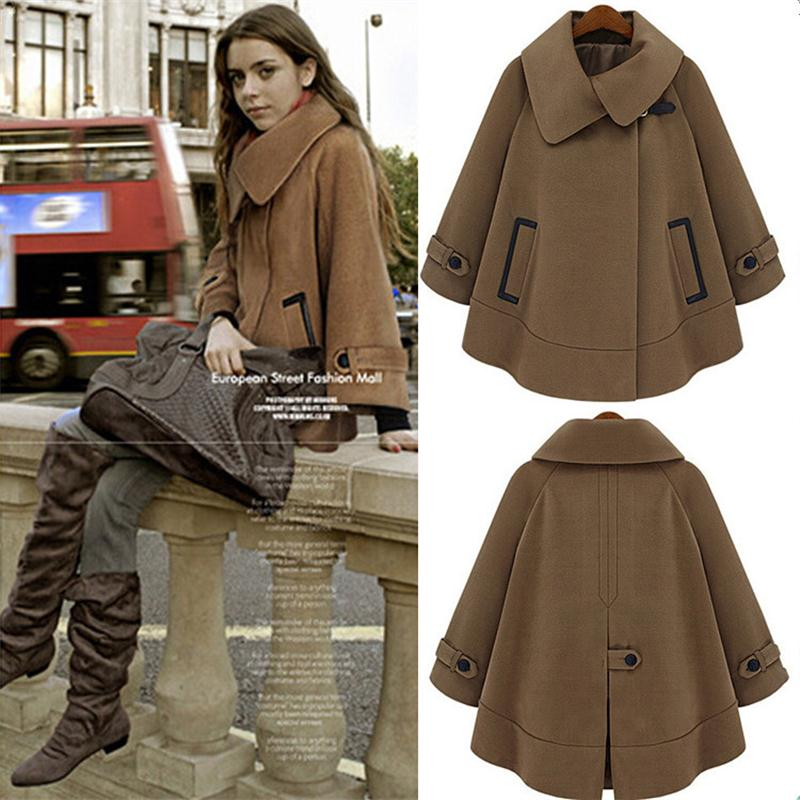 Women Cloak Blend Trench Coat 2016 Winter Plus Size S XXXL Fashion Style Warm Cashmere Coat