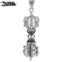 ZABRA 57*15mm Buddhist Artifacts Pendant for Male Vintage Cool Steampunk Necklace Biker Men Solid 925 Sterling Silver Jewelry