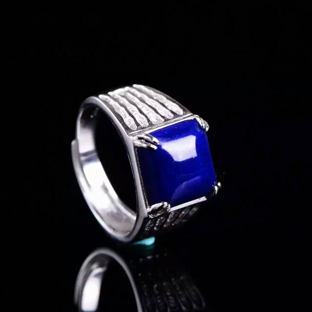 Natural blue lapis lazuli gem Ring Natural gemstone ring 925 sterling silver trendy Thick square women men party gift Jewelry