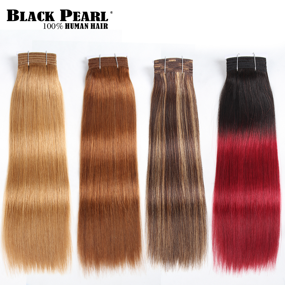 Hair Extensions & Wigs Hair Weaves Black Pearl Pre-colored Yaki Straight Human Hair Bundles Brazilian Hair Weave Bundles Hair Extension 1 Bundle Hair Weft 100g 1b#
