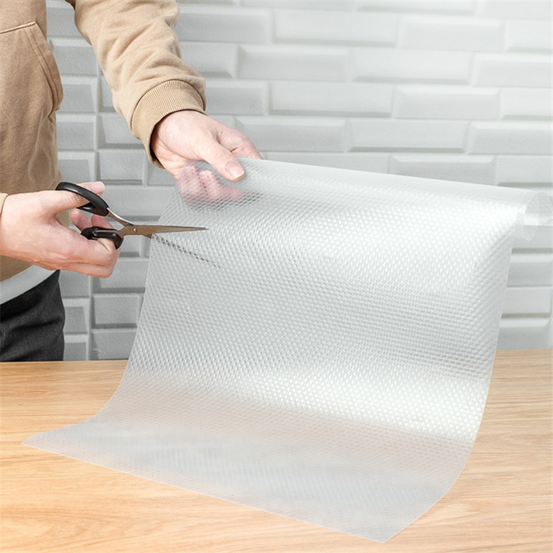 Clear Waterproof Oilproof Shelf Cover Mat Drawer Liner Cabinet Non Slip Table Non Adhesive Kitchen Cupboard Refrigerator