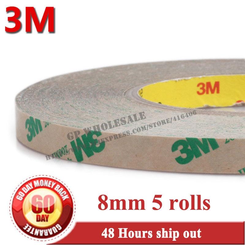 5x 8 мм * 55 м, 0.13 мм Толщина, 2 стороны клей Клейкие ленты, высокая Температура выдержать, 3 м 468mp, 200mp клей 0011