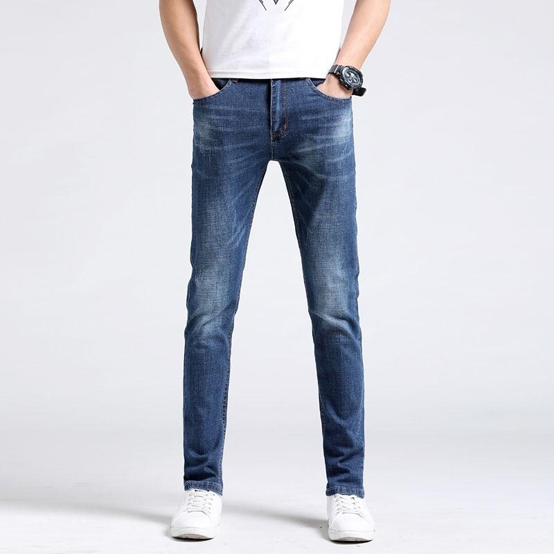 2018 new mens summer boutique jeans business casual stretch slim denim light blue jeans mens pants brand fashion Slim high-qua
