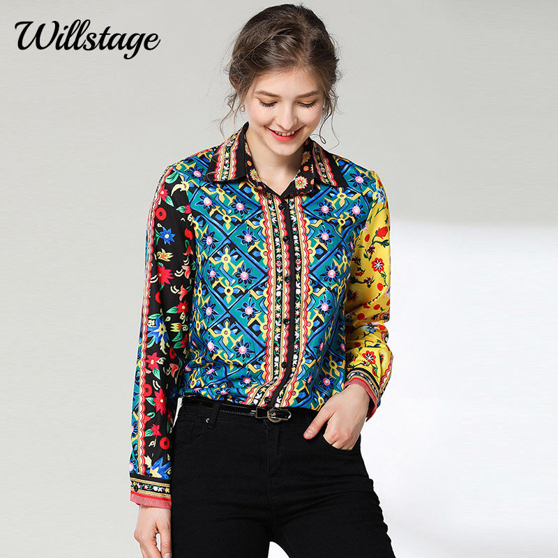 Willstage 2019 Spring New Floral Shirts Women ethnic style Blosue Long sleeve bu