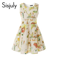 Sisjuly Vintage Yellow Dress 1950s Floral Print Women Party Dresses Round Neck Spring Elegant Party Summer