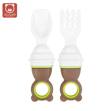 New Cartoon Cute Baby Spoon Fork Set PP material Training portable Children Dinnerware Infant baby Solid feeding Dishes for 4M