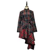 QPFJQD Western Fashion Plaid Asymmetrical Ruffles Dress Bow Tie Belt Long Sleeve Chic Dresses Casual Brand