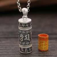 Nepal Real 990 Silver Sterling Necklace Tibetan Buddha Pendant Amulet Chinese Thai silver swastika mantra hollow out pendant