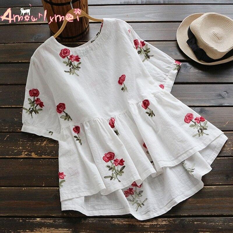 Chemise en coton avec broderie florale