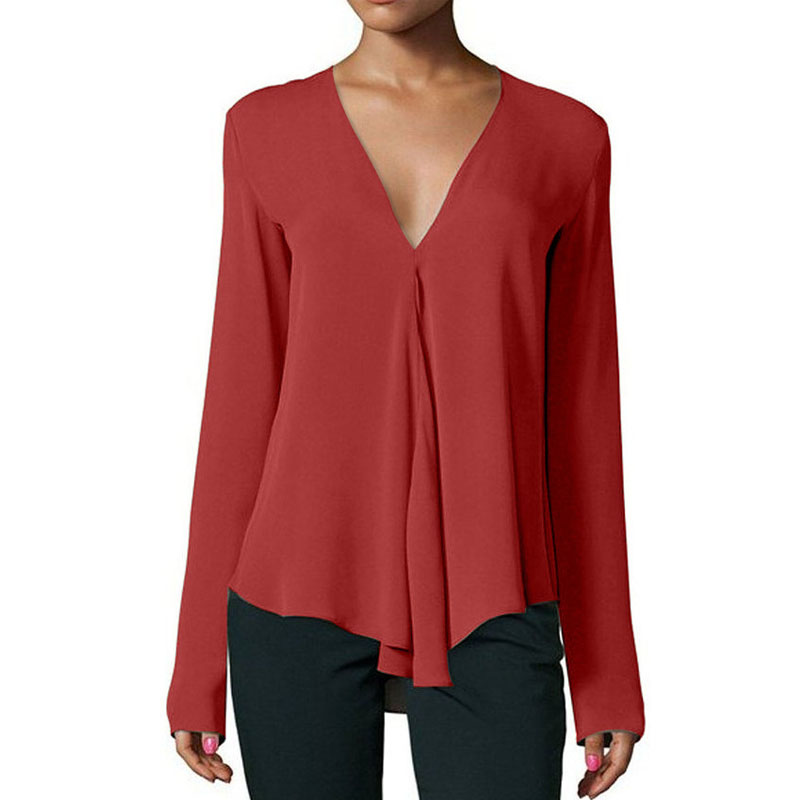 Autumn Stylish Women Chiffon Blouse Shirt 2018 V-Neck Long Sleeve Female Tops Casual Solid Color Woman Plus Size Clothing 1